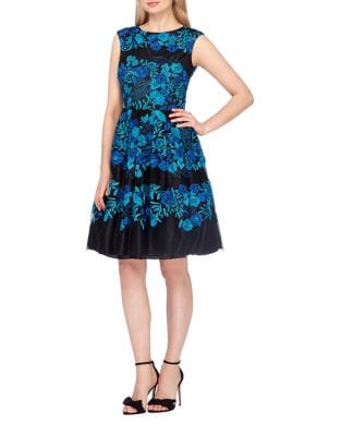 Petite Embroidered Mesh Fit-&-Flare Dress by Tahari Arthur S. Levine