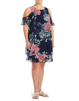 Plus Layered Chiffon Shift Dress by Eliza J