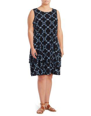 Layered Hem Patterned Dress by Ivanka Trump