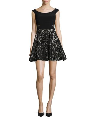 Mesh-Accented Off-the-Shoulder Dress by Xscape