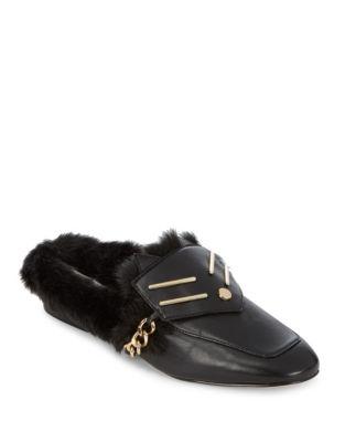 Orva Leather Faux Fur Slip-Ons by Karl Lagerfeld Paris