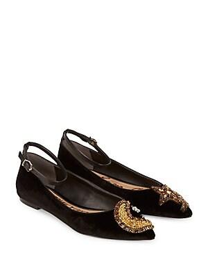 36deff854 Sam Edelman - Rexley Velvet Embellished Flats - lordandtaylor.com