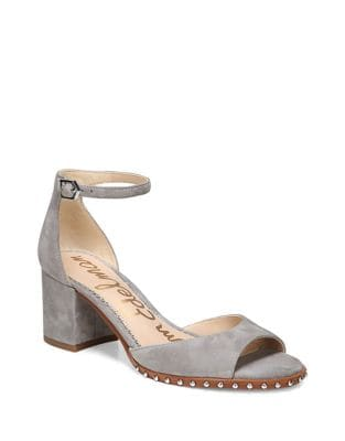Studded Suede Ankle-Strap Pumps by Sam Edelman
