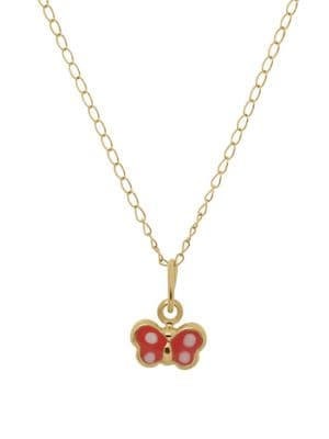 Image of Girl's 14K Yellow Gold Butterfly Pendant Necklace
