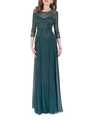 Embellished Roundneck Gown by Glamour by Terani Couture