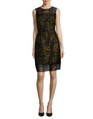 Sunflower Overlay Sheath Dress by Carmen Marc Valvo