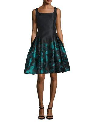 Sleeveless Printed A-Line Dress by Carmen Marc Valvo