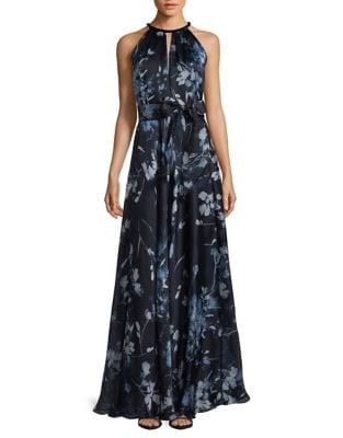 Image of Halterneck Printed Ball Gown