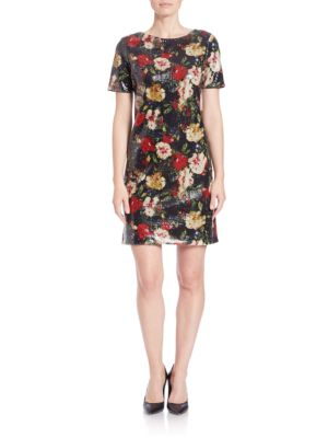Floral Sequined Shift Dress by Marc New York Andrew Marc