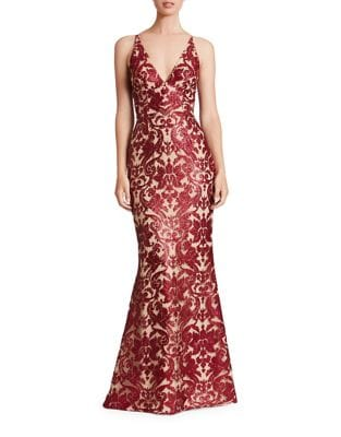 Plunging Spaghetti Strap Gown by Dress The Population