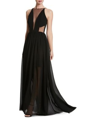 Plunging Sleeveless Chiffon Gown by Dress The Population