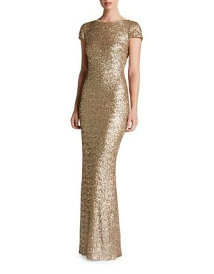 Cap Sleeve Scoop Back Sequin Gown by Dress The Population