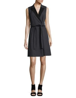 Belted Wrap Dress by Calvin Klein