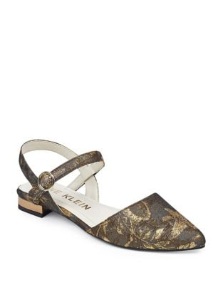 Odell Textile Ankle Strap Flats by Anne Klein