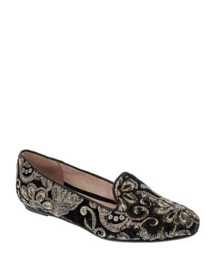 Whitney Embroidered Velvet Smoking Loafers by Patricia Green