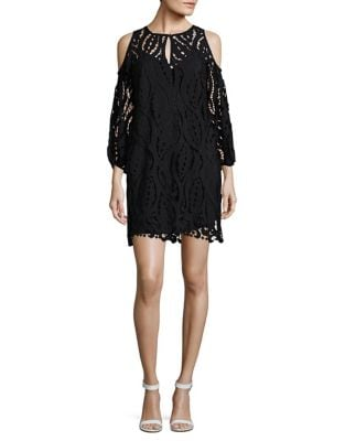 Photo of Shoshanna Lace Sheer Cold-Shoulder Dress