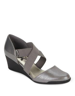 Teaberry Round Toe Wedge Sandals by Anne Klein
