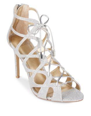 Zandra Textile Stiletto Sandals by Belle Badgley Mischka