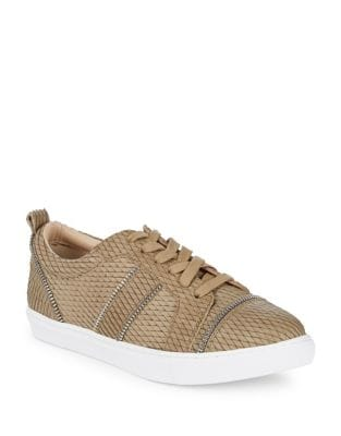 Image of Harvey Snake Print Leather Sneakers