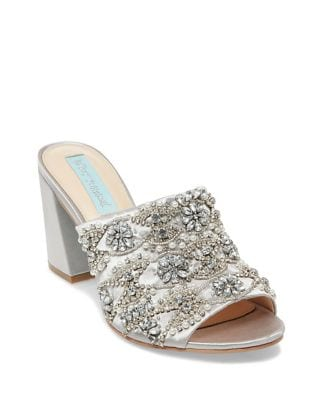 Blue by Betsey Johnson Embellished Satin Mules by Betsey Johnson