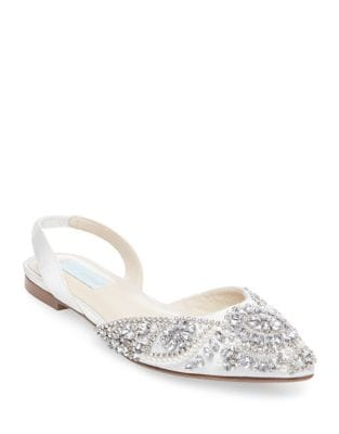 Embellished Slingback Satin Flats by Betsey Johnson