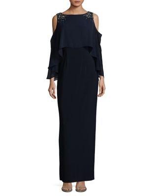 Photo of Cold Shoulder Embellished Floor-Length Gown by Vince Camuto - shop Vince Camuto dresses sales