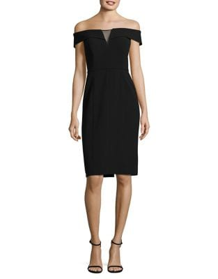 Mesh Insert Off-the-Shoulder Sheath Dress by Vince Camuto