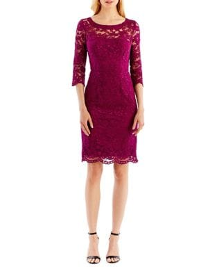 Three Quarter Sleeve Lace Sheath Dress by Nicole Miller New York
