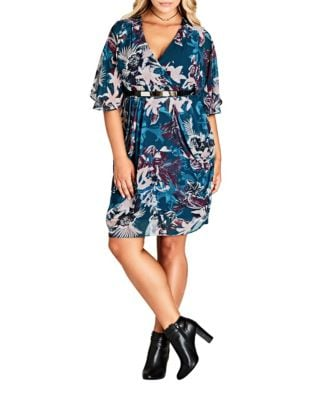 Plus Printed Belted Mini Dress by City Chic