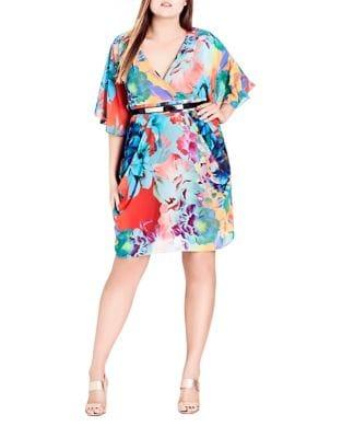 Plus Floral Print Wrap Dress by City Chic