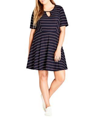 Plus Striped Mini Dress by City Chic