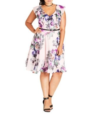Plus Floral Knee-Length Dress by City Chic