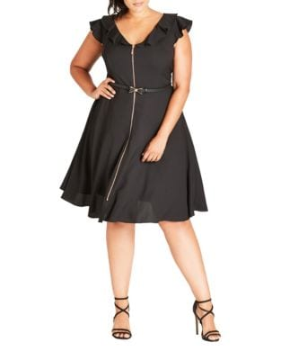 Plus Belted Knee-Length Dress by City Chic
