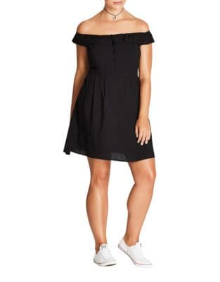 Plus Buttoned Off Shoulder Dress by City Chic