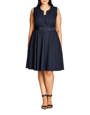 Plus Belted Sleeveless Knee-Length Dress by City Chic