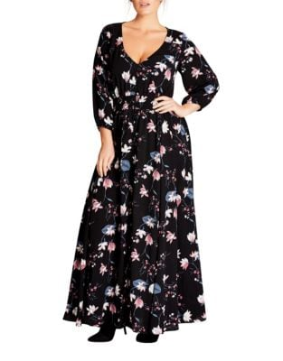 Plus Floral Sweet Floor-Length Dress by City Chic
