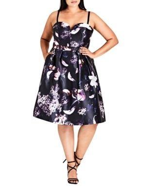 Plus Floral Sweetheart Dress by City Chic