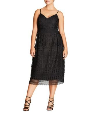 Plus Lace Sleeveless Mini Dress by City Chic