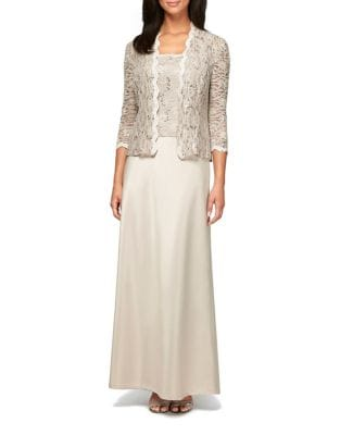 Plus Embroidered Jacket and Camisole Dress Set by Alex Evenings