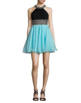 Embellished Halterneck Dress by Betsy & Adam