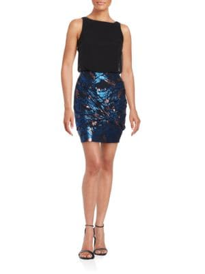 Sleeveless Metallic Blouson Dress by Aidan Aidan Mattox