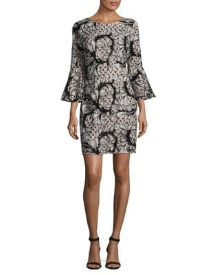 Printed Boatneck Dress by Belle Badgley Mischka