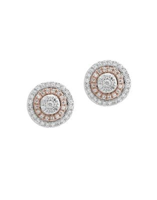 0.38 TCW Diamond and 14K White and Rose Gold Stud Earrings