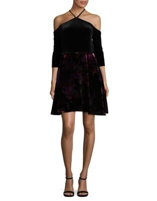 Velvet Halterneck Dress by Aidan Aidan Mattox