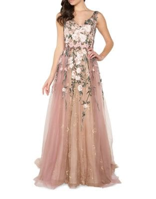 Floral Embroidery Floor-Length Gown by Mac Duggal