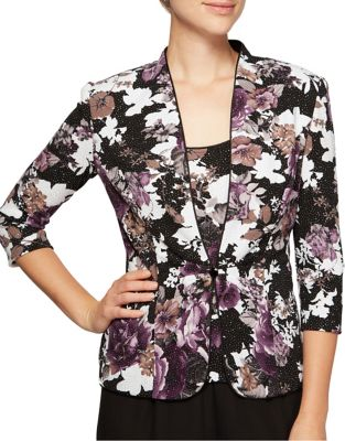 Two-Piece Floral Jacket and Camisole by Alex Evenings