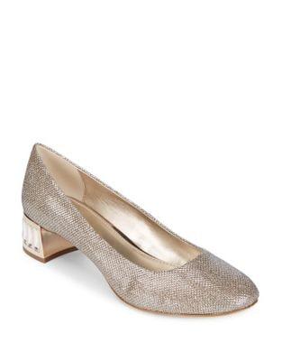 Haedyn Metallic Fabric Heels by Anne Klein