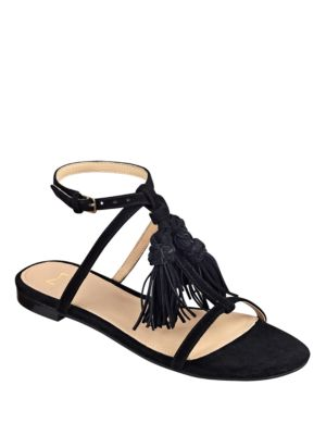Crystal Tassel-Accented Suede Sandals by Marc Fisher LTD
