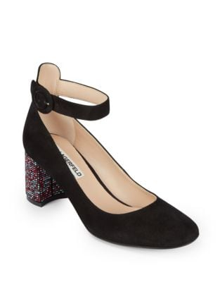 Solaine Suede Ankle Strap Pump by Karl Lagerfeld Paris