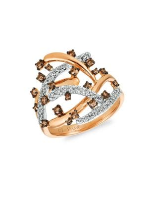 Image of Chocolatier Vanilla Diamonds, Chocolate Diamonds & 14K Strawberry Gold Statement Ring